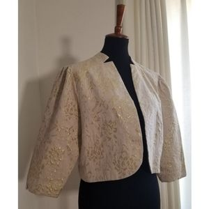 Cream and Gold Silk Brocade Cropped Jacket